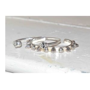 Jewelry - Set of 2 SILVER Skull and SPIKE Bracelets